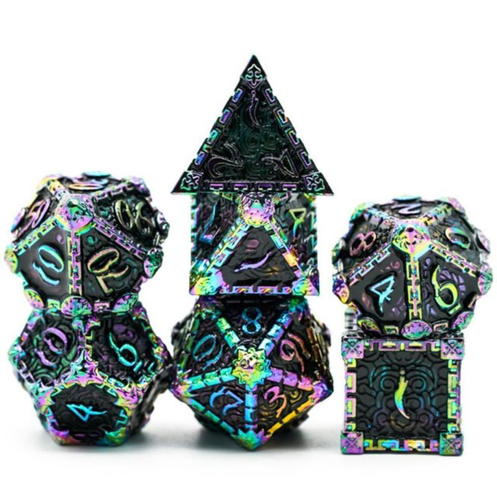 Dagger of Venom Black Rainbow Metal Polyhedral Dice Set (7) - The Haunted Game Cafe