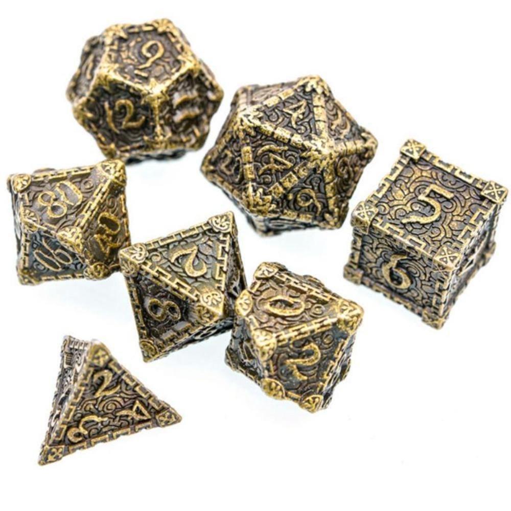 Dagger of Venom Bronze Metal Polyhedral Dice Set (7) - The Haunted Game Cafe