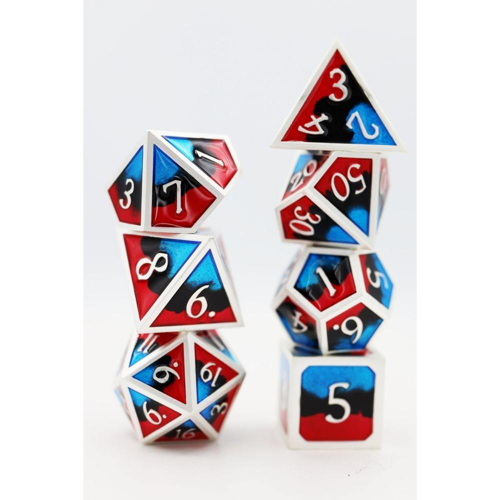 Fire & Ice Swirl Metal Polyhedral Dice Set (7) - The Haunted Game Cafe