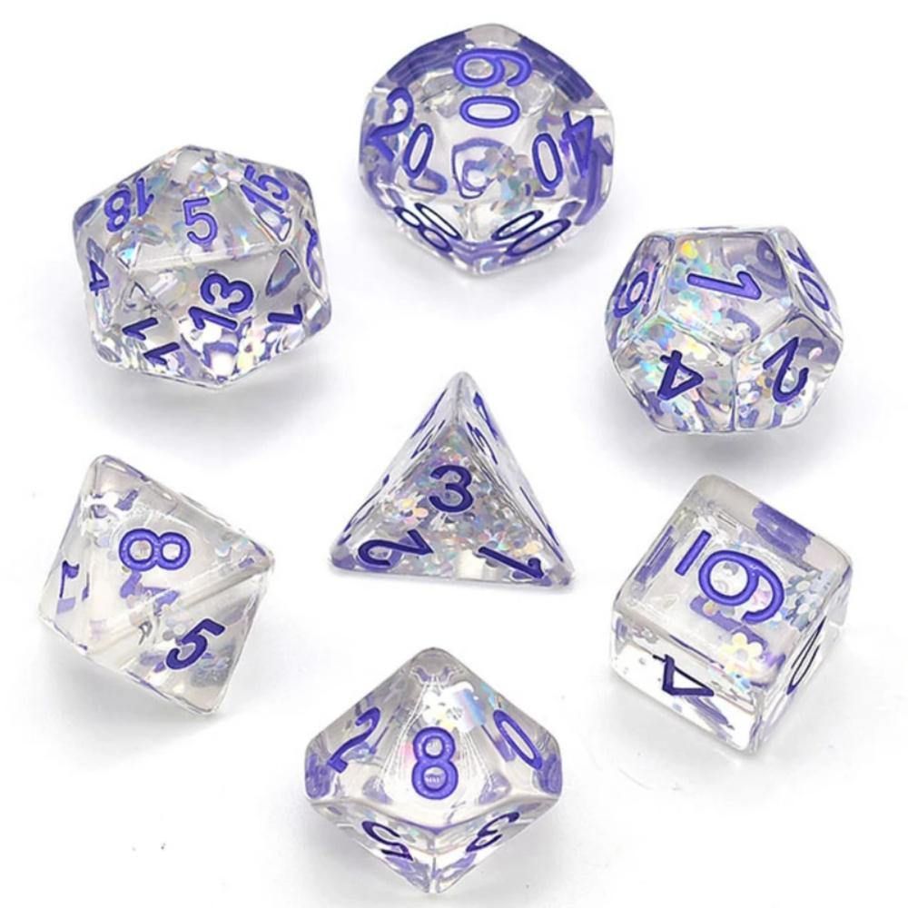 Purple Daisy Foil Fragment Polyhedral Dice Set (7) - The Haunted Game Cafe