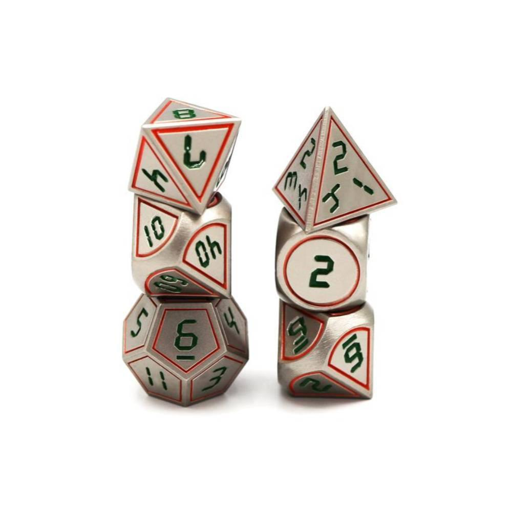Green, Red, and Silver Digital Polyhedral Dice Set (7)