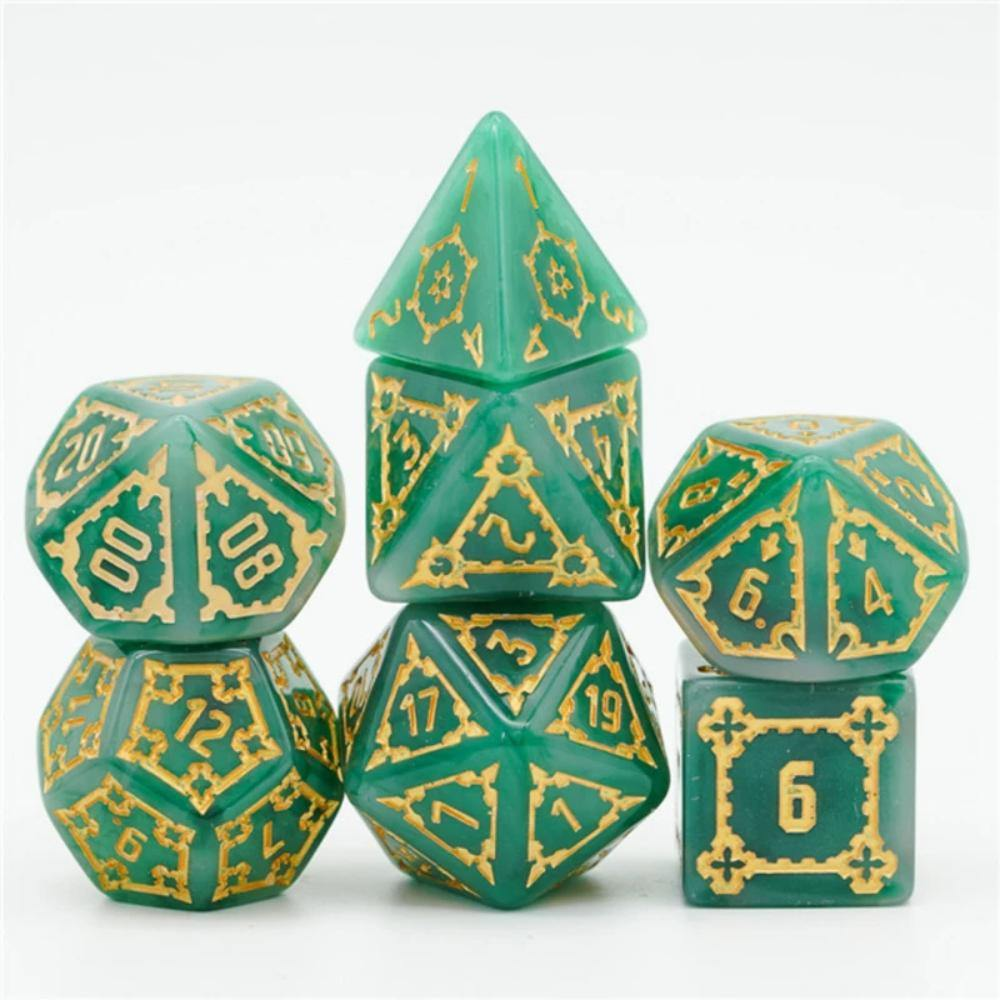 Jumbo Castle Polyhedral Dice Set (7) Green - The Haunted Game Cafe