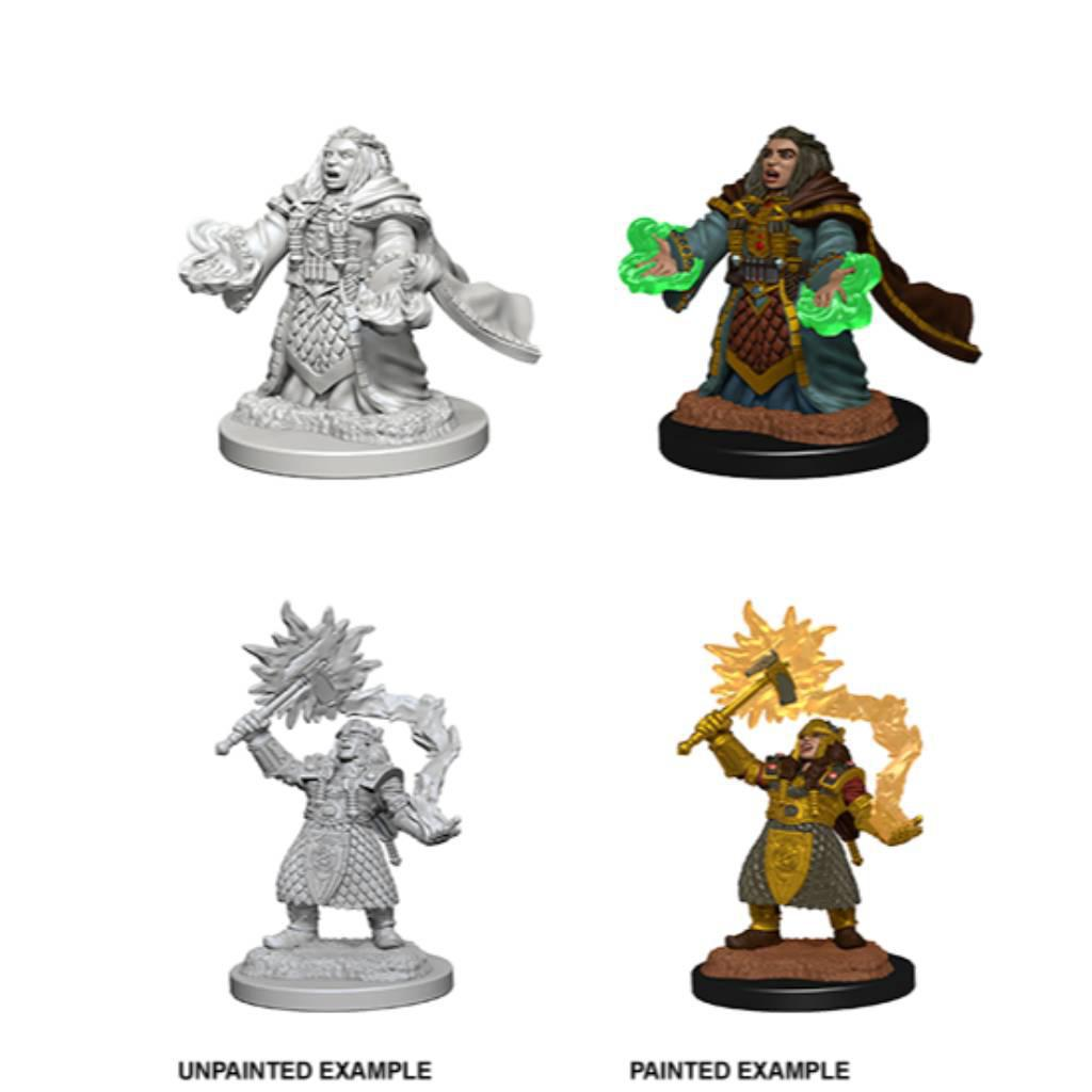 WizKids Unpainted Dwarf Female Cleric (2)