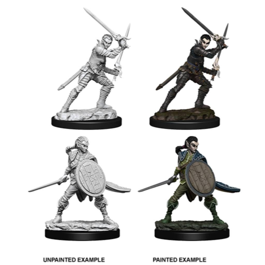 WizKids Unpainted Elf Female Fighter (2) (version 3)