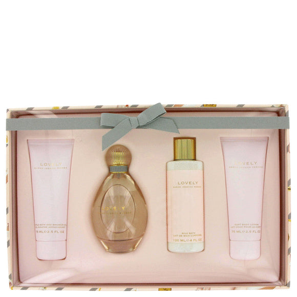 Lovely Gift Set - 3.4 oz Eau De Parfum Spray + 2.5 oz Body Lotion + 2.5 oz Shower Gel + 4 oz Milk Bath For Women by Sarah Jessica Parker