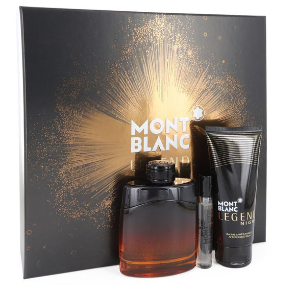 Montblanc Legend Night Gift Set  3.3 oz Eau De Parfum Spray +.25 oz Mini EDP Spray + 3.3 oz After Shave Balm For Men by Mont Blanc