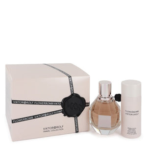 Flowerbomb Gift Set - 1.7 oz Eau De Parfum Spray + 1.7 oz Body Lotion For Women by Viktor & Rolf