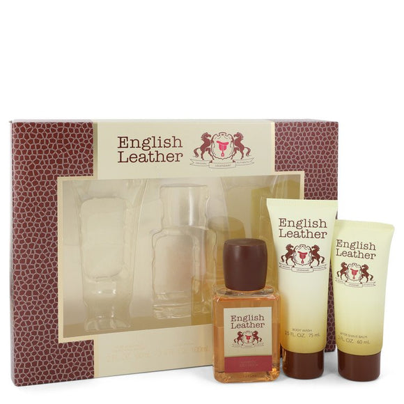 ENGLISH LEATHER Gift Set  3.4 oz Cologne Body Spash + 2 oz After Shave Balm + 2.5 oz Body Wash For Men by Dana