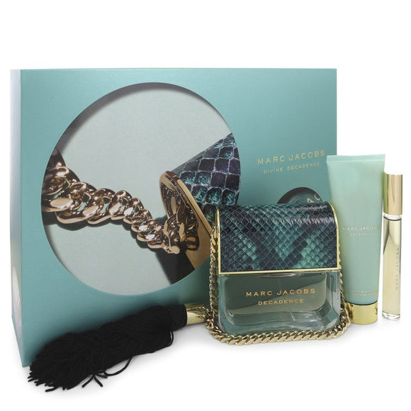Divine Decadence Gift Set  3.4 oz Eau De Parfum Spray + .33 oz Mini EDP Rollerball + 2.5 oz Body Lotion For Women by Marc Jacobs