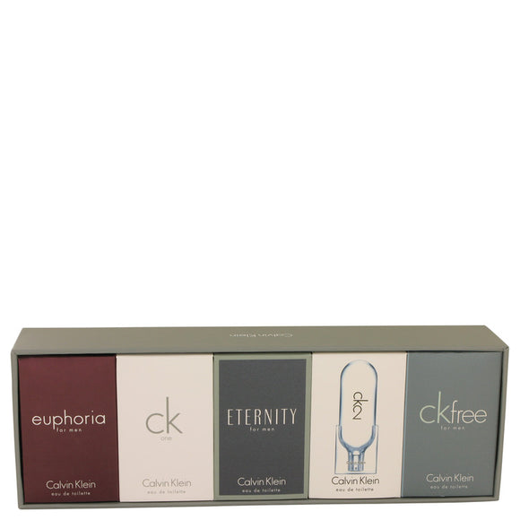 Eternity Gift Set - Deluxe Travel Mini Set Includes Euphoria, CK One, Eternity, Ck 2 and CK Free, All are .33 oz Pours For Men by Calvin Klein