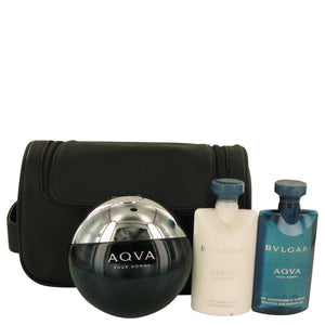AQUA POUR HOMME 0.00 oz Gift Set  3.4 oz Eau De Toilette Spray + 2.5 oz After Shave Balm +2.5 oz Shower Gel + Pouch For Men by Bvlgari
