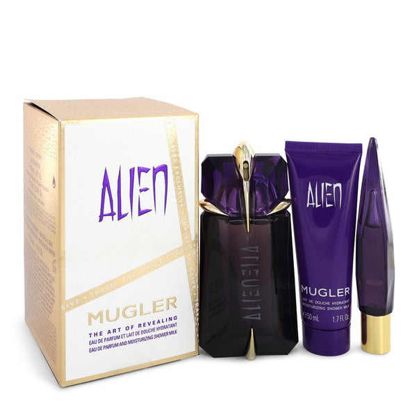 Alien Gift Set  2 oz Eau De Parfum Spray + .3 oz Mini EDP Refillable Spray + 1.7 oz Shower Gel For Women by Thierry Mugler