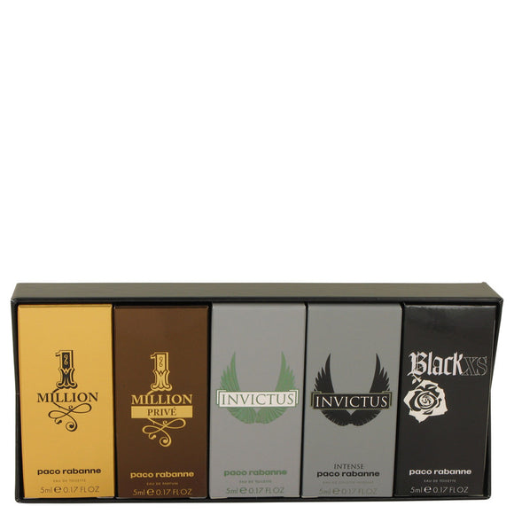 Black Xs Gift Set - Travel Mini Set Includes 1 Million, 1 Million Prive, Invictus, Invictus Intense and Black XS For Men by Paco Rabanne