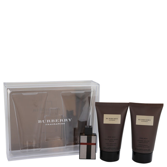 Burberry London (new) Gift Set - .15 oz Mini EDT + 1.3 oz Hair & Body Wash + 1.3 oz  After Shave Emulsion For Men by Burberry
