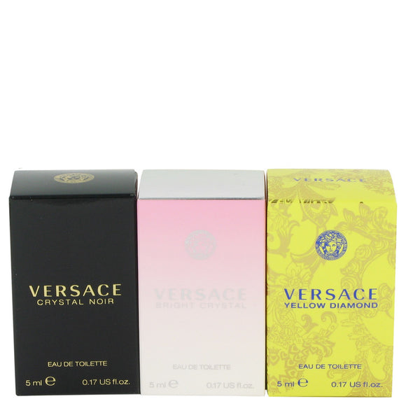 Bright Crystal Gift Set  Miniature Collection Includes Crystal Noir, Bright Crystal and Versace Yellow Diamond For Women by Versace