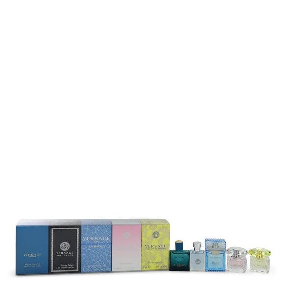 Bright Crystal Gift Set  The Best of Versace Men`s and Women`s Miniatures Collection Includes Versace Eros, Versace Pour Homme, Versace Man Eau Fraiche, Bright Crystal, and Versace Yellow Diamond For Women by Versace