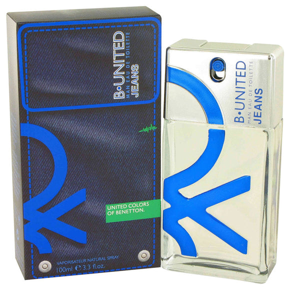 B United Jeans 3.30 oz Eau De Toilette Spray For Men by Benetton