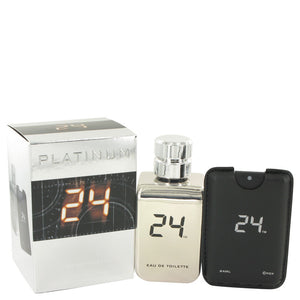 24 Platinum The Fragrance 3.40 oz Eau De Toilette Spray + 0.8 oz Mini Pocket Spray For Men by ScentStory