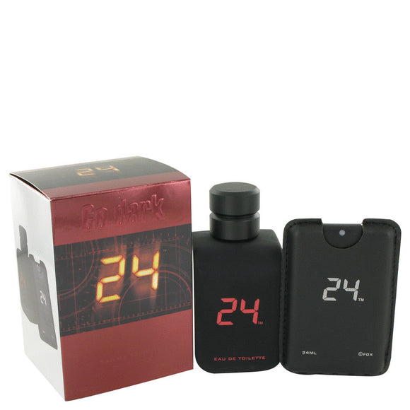 24 Go Dark The Fragrance 3.40 oz Eau De Toilette Spray + .8 oz Mini Pocket Spray For Men by ScentStory