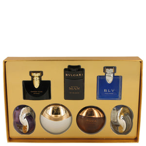 Bvlgari Aqua Amara Gift Set  Seven piece Iconic Miniature Collection All .17 oz Travel Mini`s (Omnia Amethyste, Jasmin Noir EDP, Aqua Divina, Man In Black EDP, Aqua Amara, BLV Men, Omnia Crystalline) For Men by Bvlgari