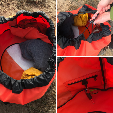 A collage of image with the features of the Turtleback outdoor swim bag, including the drawstring close, insulated mat and inside pocket and key chain.