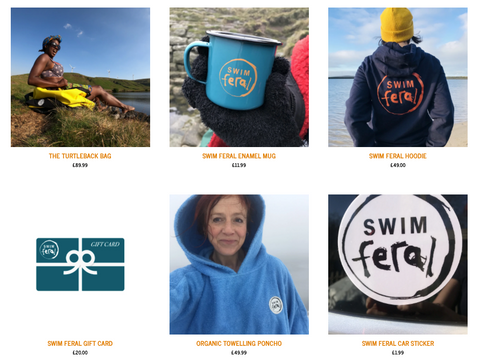 Thumbnails of all Swim Feral products as listed on the product web page