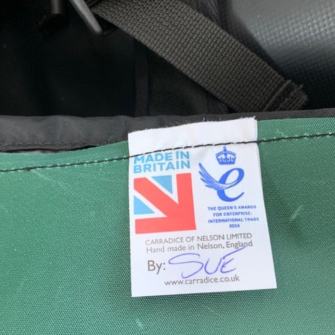 Label in Turtleback outdoor swimming bag signed with maker's name