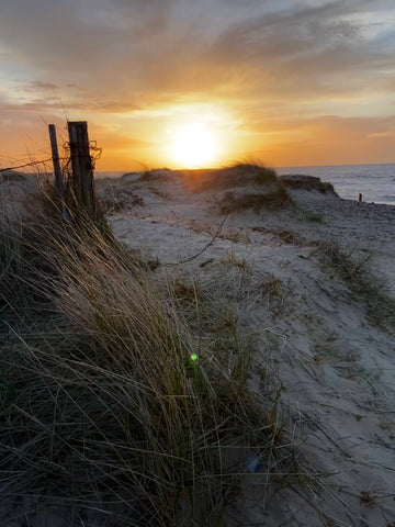 A shot from the beach with the sand dunes and sun setting in the background