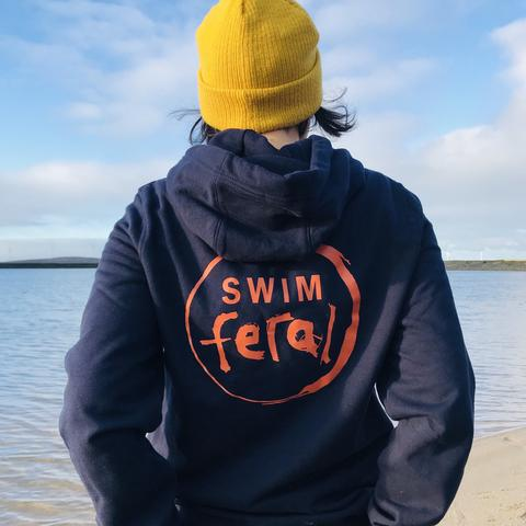 Swim Feral hoodie from back with logo