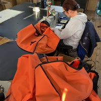Turtleback outdoor swim bag being handmade at the factory