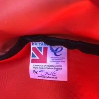label on Swim Feral Turtleback swim bag showing that it is handmade in the Uk by a woman called Sue