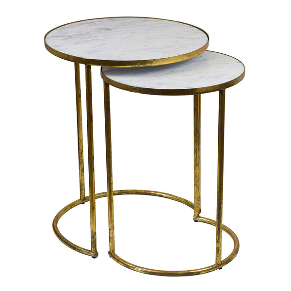 Alexa Iron and Marble Side Tables - The Home Accessories Company
