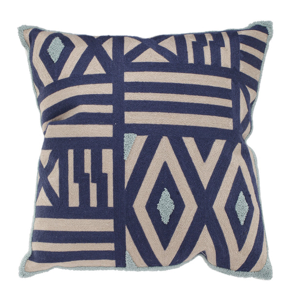 Patterned Taupe & Blue Cushion - The Home Accessories Company