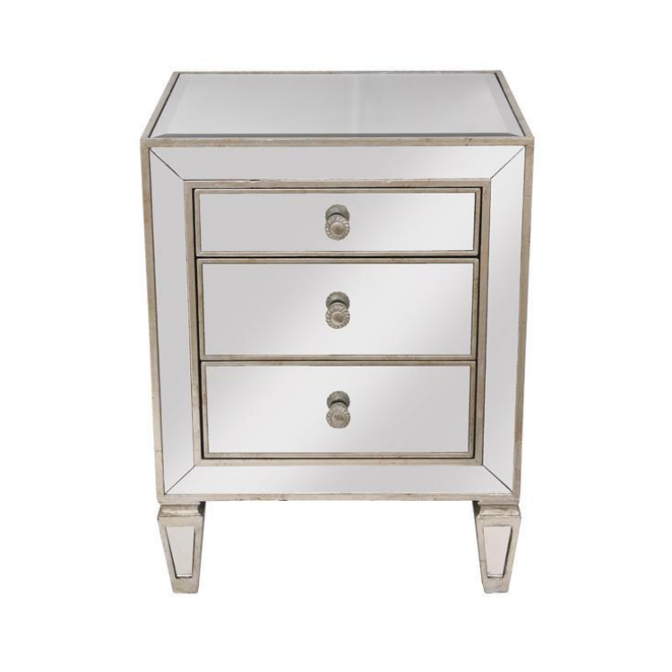 Mirrored 3 Drawer Bedside Table - The Home Accessories Company 1