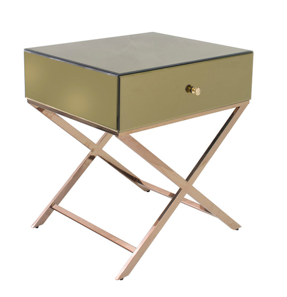Crossed Mirrored Bedside Table - Champagne - The Home Accessories Company