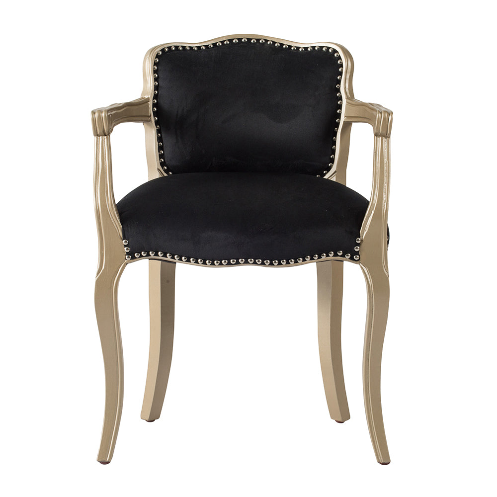 Vintage Black Velvet Lounge Chair - The Home Accessories Company