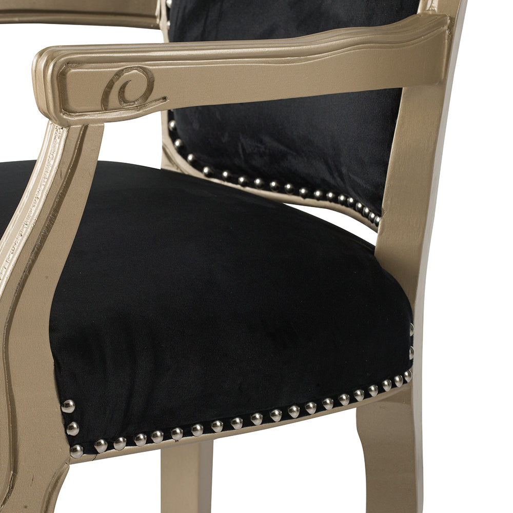 Vintage Black Velvet Lounge Chair - The Home Accessories Company 6