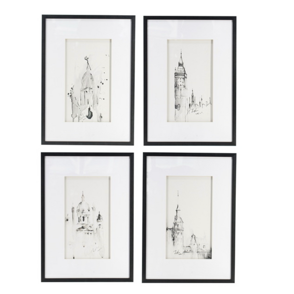 Set of 4 Steeple Buildings Framed - The Home Accessories Company