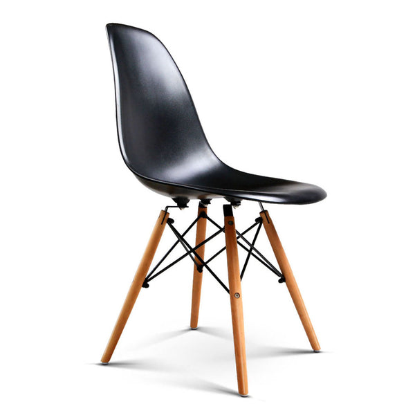 4 x Replica Eames DSW Dining Chairs - Black - The Home Accessories Company