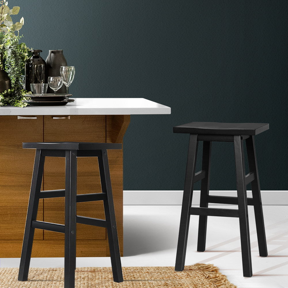 2 x Black Wooden Bar Stools - The Home Accessories Company 2