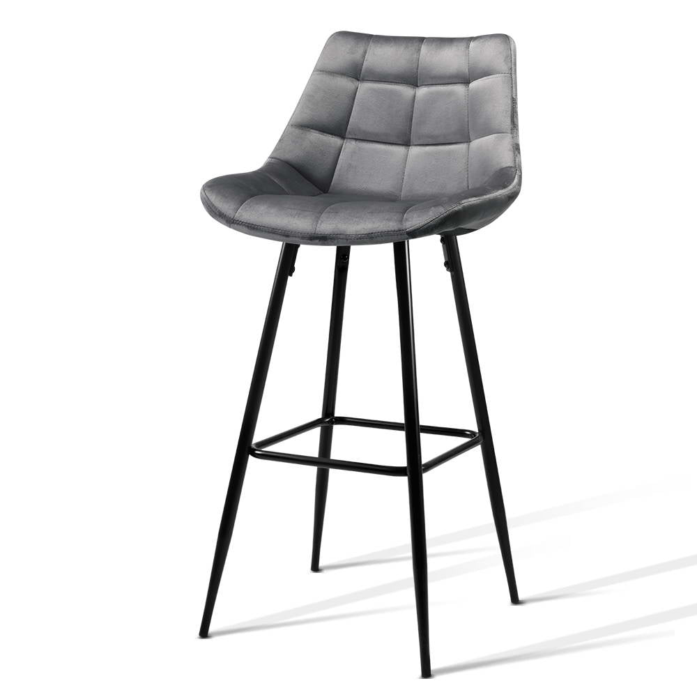 2 x Velvet Audrey Kitchen Bar Stool - Grey - The Home Accessories Company