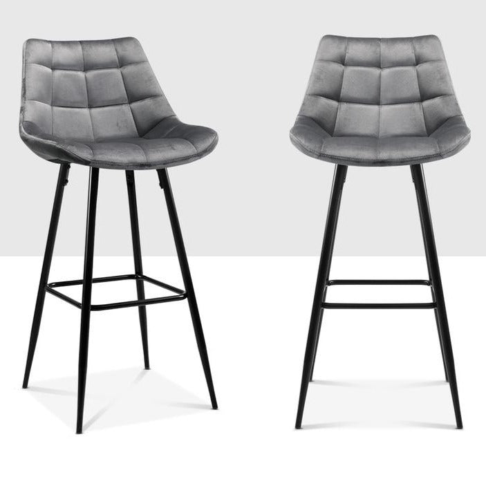 2 x Velvet Audrey Kitchen Bar Stool - Grey - The Home Accessories Company 1