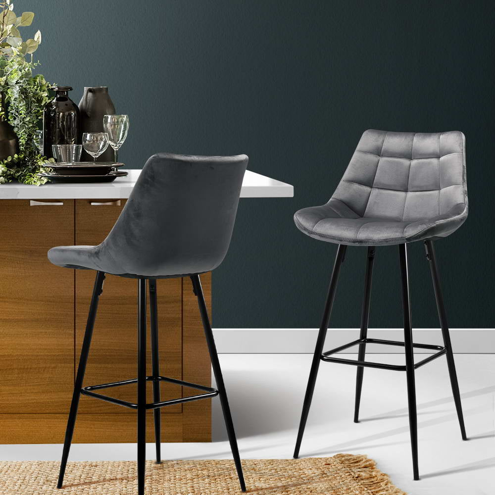 2 x Velvet Audrey Kitchen Bar Stool - Grey - The Home Accessories Company 2