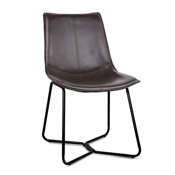 2 x  PU Leather Dining Chair - Walnut - The Home Accessories Company