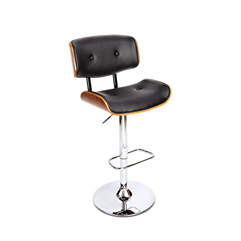 Wooden Gas Lift  Bar Stool - Black - The Home Accessories Company