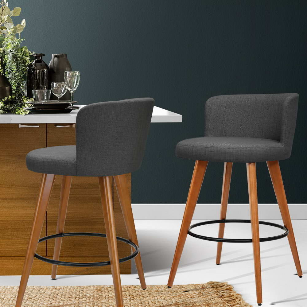 2 x Connor Wooden Bar Stools - Charcoal - The Home Accessories Company 3