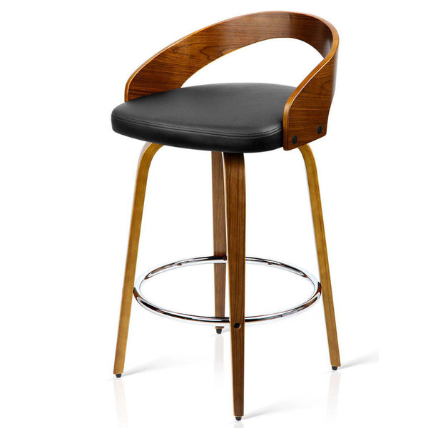 2 x Walnut Wooden Bar Stools - Black - The Home Accessories Company