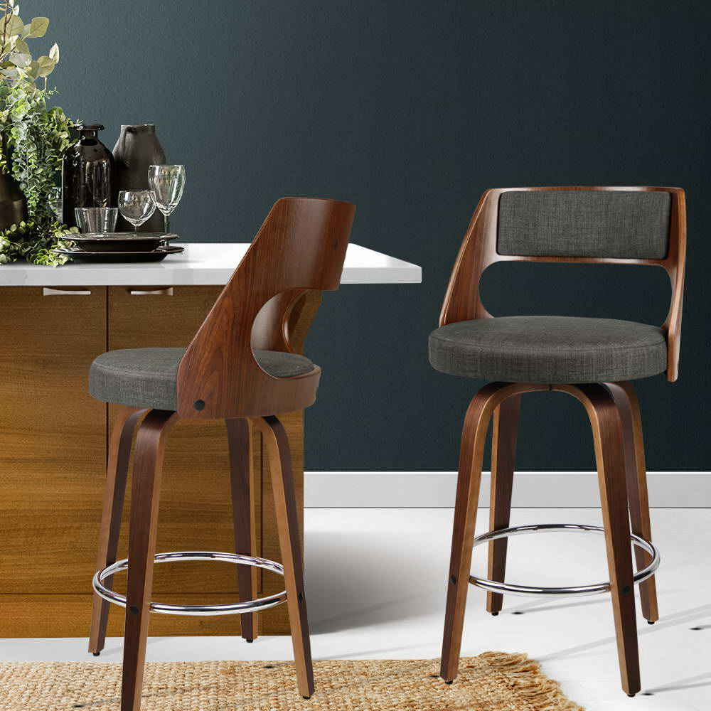2 x Wooden Swivel Bar Stools - Charcoal - The Home Accessories Company 4