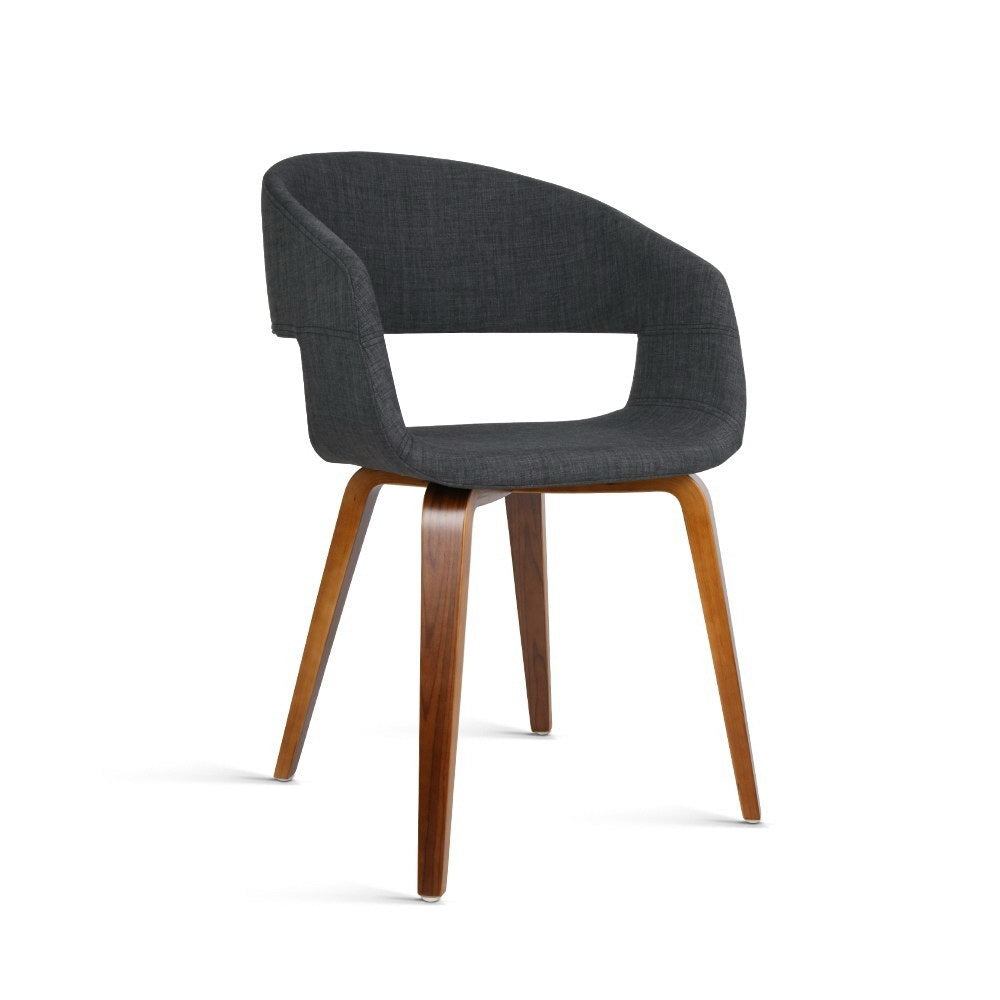 2 x Timber Wood and Fabric Dining Chairs - Charcoal - The Home Accessories Company