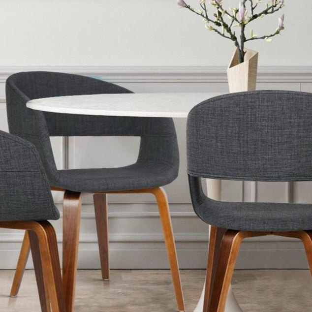 2 x Timber Wood and Fabric Dining Chairs - Charcoal - The Home Accessories Company 1